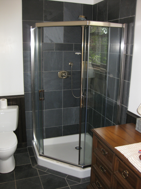back gallery for black slate tile shower